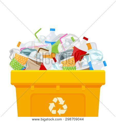 Yellow Bin Full And Plastic Garbage Waste Isolated White Square Background, Plastic Waste Dump On Th