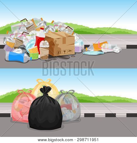 Before And After In Concept Cleaning Waste Separation, Garbage Bags Plastic Waste For Challenge Back