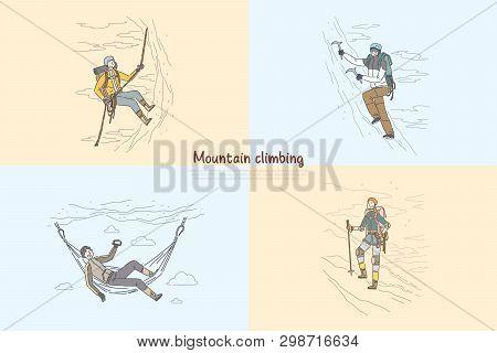 Mountain, Rock Climbing, Alpinists Using Professional Mountaineering Equipment Banner Template. Trav