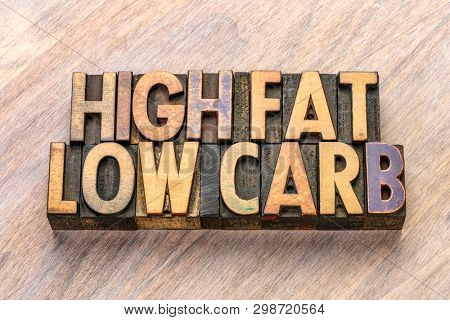 high fat, low carb, keto diet concept - word abstract in vintage letterpress wood type