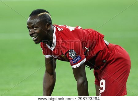 Kyiv, Ukraine - May 26, 2018: Sadio Mane Of Liverpool Lies On A Grass During The Uefa Champions Leag