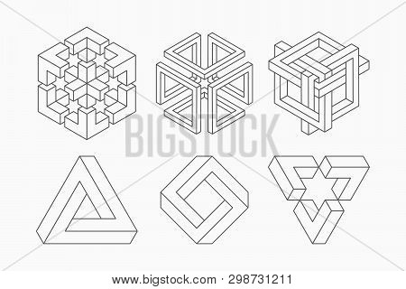 Graphic Impossible Shapes. Circle, Square And Triangle Symbols With Escher Paradox Impossible Geomet