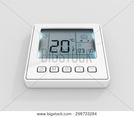 Digital Programmable Thermostat Isolated On White Background 3d Render