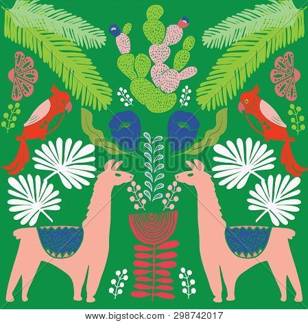 Illustration With Llama And Cactus Plants. Vector Seamless Pattern On Botanical Background. Greeting