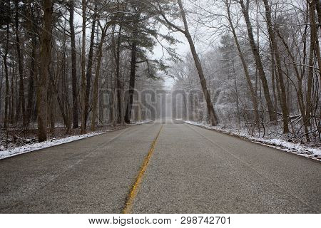 Background Concept Future Lies Ahead Path Yellow Line Road Nowhere Solitude