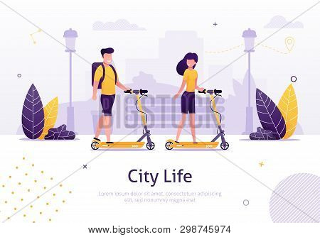 Cartoon Couple Riding Scooters In Park Banner Vector Illustration. Girl And Boy Tranporting Around T