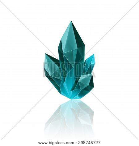 Magic Blue Crystal With Sparkle. Decoration Icon For Games. Cartoon Crystals Illustration. Stone Hea