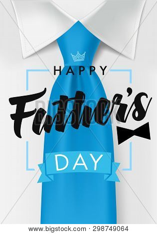 Happy Father Day Card With Dark Teal Necktie And Black Bow. Happy Fathers Day Text On White Shirt Ba