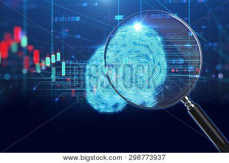 Magnifying Glass On Digital Fingerprint Background. 3D Illustration