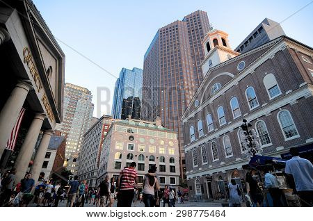 Boston, Massachusetts, Usa - 19th July 2014 : View On The Square Between The Famous Quincy Market An