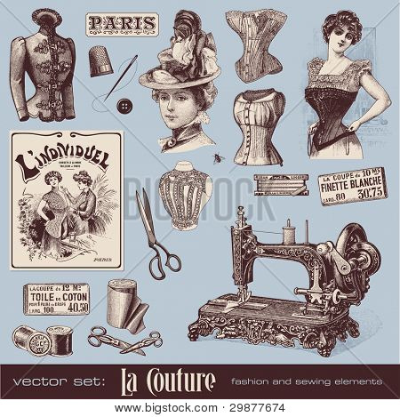 vector set: fashion and sewing (1900) poster