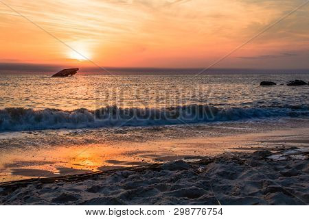 Sunset Beach And The Sunken Ss Atlantic At Sunset In Early Spring With Warm Vivid Light - Cape May P