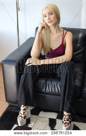 Beautiful Isolated Green Eyed Blonde Lady Looking At Camera
