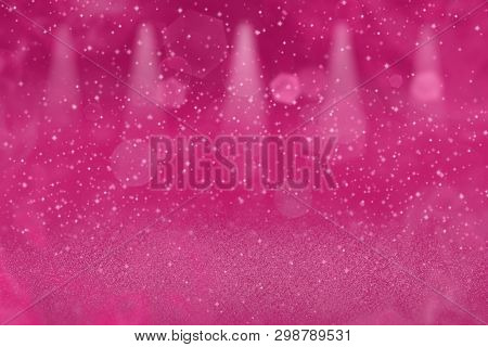 Pink Beautiful Glossy Abstract Background Stage Spotlights With Sparks Fly Defocused Bokeh - Festal