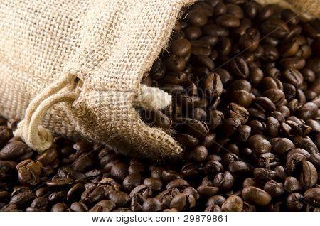 Recién tostado de granos de café en una bolsa de yute