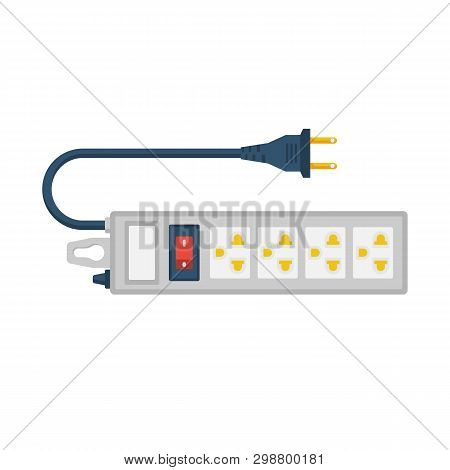 Electric Extension Cord. Power Outlet Plug. Electric Power Strip. Vector Illustration Flat Design. I