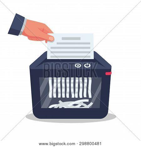 Document In Hand For Destruction. Shredder Machine. Paper Shredder. Cartoon Style. Vector Illustrati