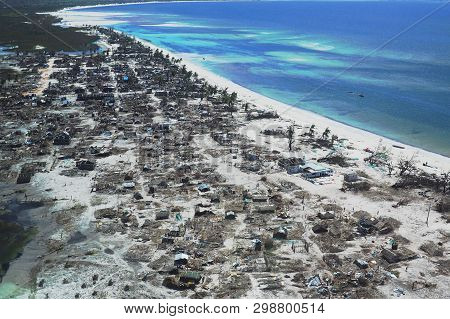Pemba, Mozambique - 1 May 2019 : Aerial View Of Devastated Fishing Village After Cyclone Kenneth In