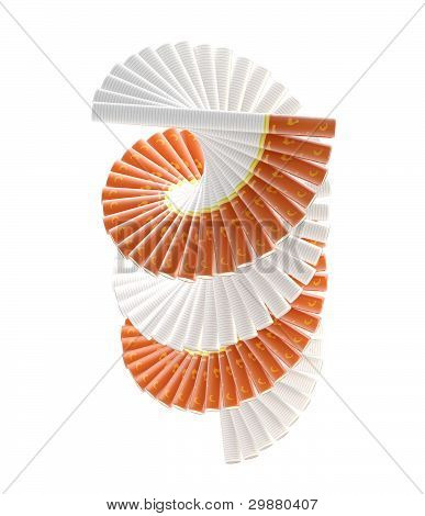Smokers way: radial staircase made of cigarettes