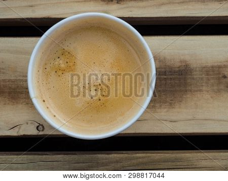 Cup Of Coffee To Go On The Wooden Table. Street Coffee, Top View.