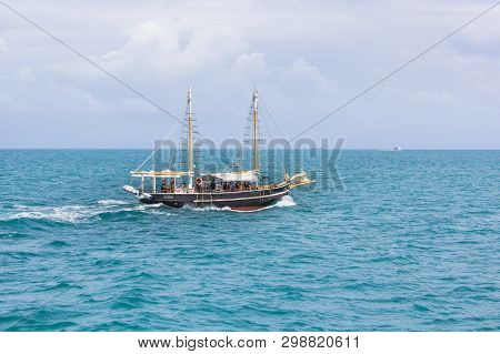 Old Boat On The Amazing Water In The Indian Ocean