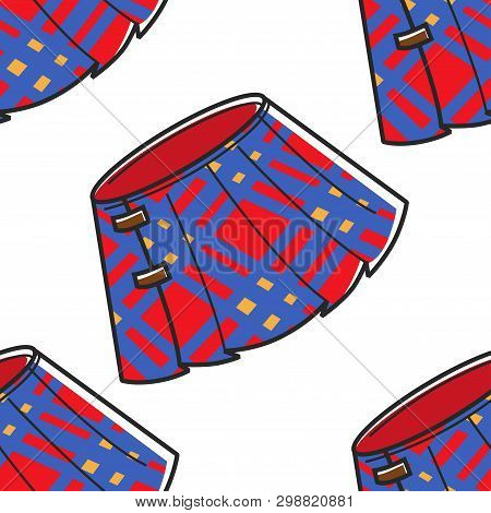 Scotland Kilt Plaid Skirt Seamless Pattern Traditional Clothes