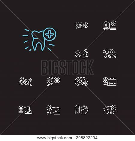 Anatomy icons set. Dentistry and anatomy icons with radiology, toxicology and hepatology. Set of organism for web app logo UI design. poster
