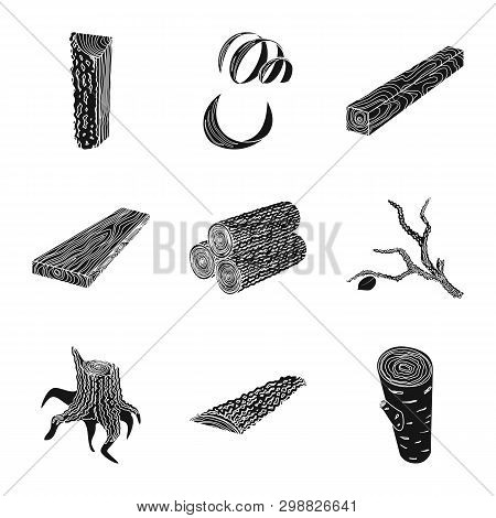 Vector Illustration Of Hardwood  And Construction Icon. Collection Of Hardwood  And Wood Stock Symbo