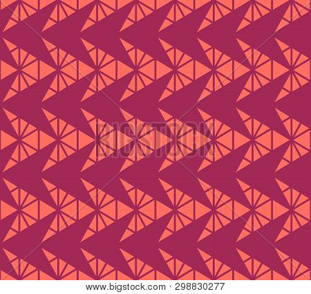 Vector Geometric Pattern With Small Triangles, Pyramid Shapes, Arrows, Grid, Net. Abstract Minimal T