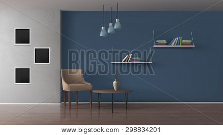 Home Apartment Living Room, Modern Book Cafe Spacious Interior 3d Realistic Vector With Comfortable