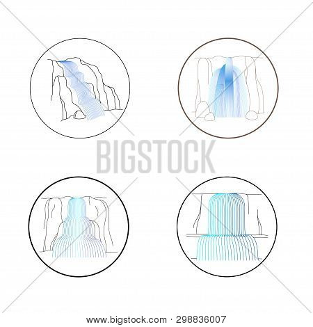 Vector Set Of Illustration Of Waterfall Cascade. Water Stream Falling Of Various Shape Of Mountain R
