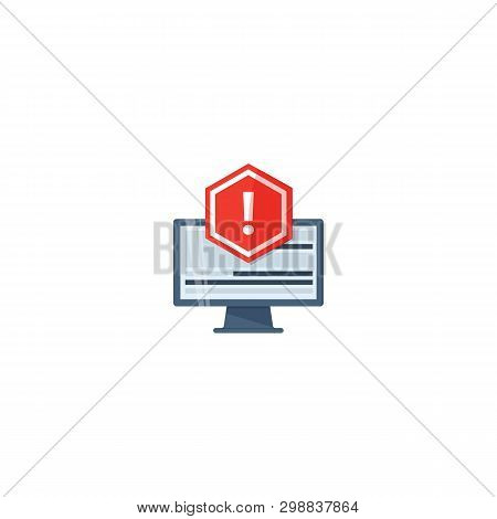 Concept Of Application Error. Attention Message Error. Red Alert Warning Of Spam Data, Insecure Conn