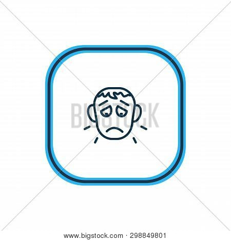 Illustration Of Offence Icon Line. Beautiful Emotions Element Also Can Be Used As Sorrow Icon Elemen