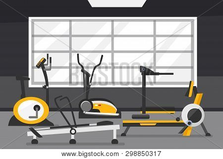 Cardio Zone Concept. Gym Of Fitness Center Interior Design In Flat Style With Elliptical Machine Cro