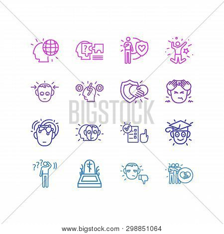 Vector Illustration Of 16 Emotions Icons Line Style. Editable Set Of Concentrated, Undecided, Honest