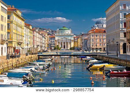 Trieste channel and Ponte Rosso square view, city in Friuli Venezia Giulia region of Italy poster