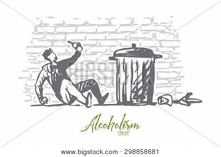 Alcoholism, Man, Drunk, Bottle, Tired Concept. Hand Drawn Drunk Man With Bottle Of Alcohol Near Tras