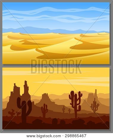 Set Of Desert Landscapes With Yellow Sand Dunes, Cacti, Succulents, Mountains And Blue Sky. Vector I