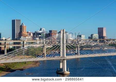 Tilikum Crossing On The Willamette River With Downtown Portland, Oregon In The Background