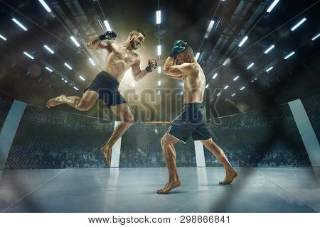 Last Moment Before Winning. Two Professional Fighters Posing On The Sport Boxing Ring. Couple Of Fit