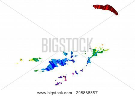 British Virgin Islands - Map Is Designed Rainbow Abstract Colorful Pattern, Virgin Islands (bvi, Bri
