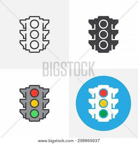 Traffic Light Icon. Line, Glyph, Flat And Filled Outline Colorful Version, Stoplight, Semaphore Outl