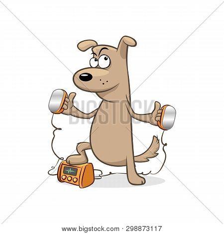 Doctor Dog Heart Defibrillator Paddles Vector Illustration