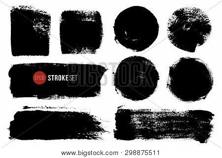Vector Ink Blots Rectangular And Circle Shapes. Hand Painted Spots. Grunge Brush Strokes Big Set.