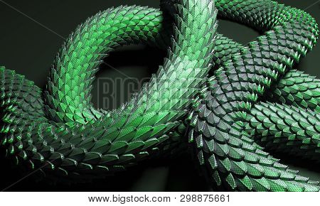 Green сhinese Dragon Tail 3d Illustration On Black Background