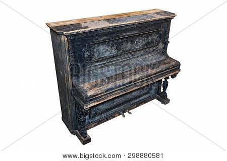 Old-fashioned Antique Ornamental Piano With Carved Pillars. Before Restoration