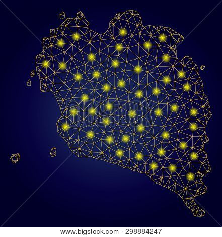 Yellow Mesh Vector Ko Pha Ngan Map With Glare Effect On A Dark Blue Gradiented Background. Abstract