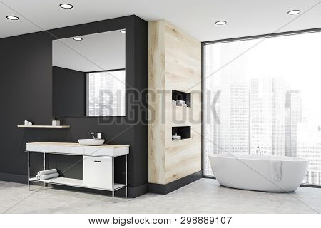 Panoramic Gray And Wooden Bathroom, Sink And Tub