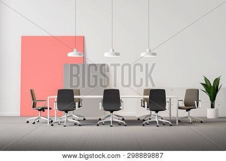 White Office Meeting Room With Posers