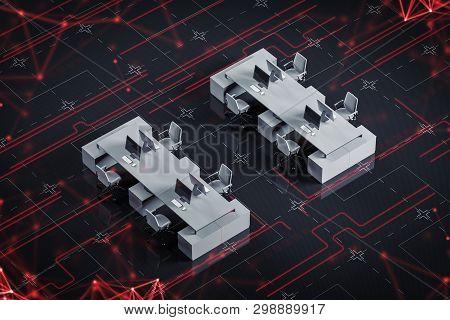 Computer Desks On Circuit Board